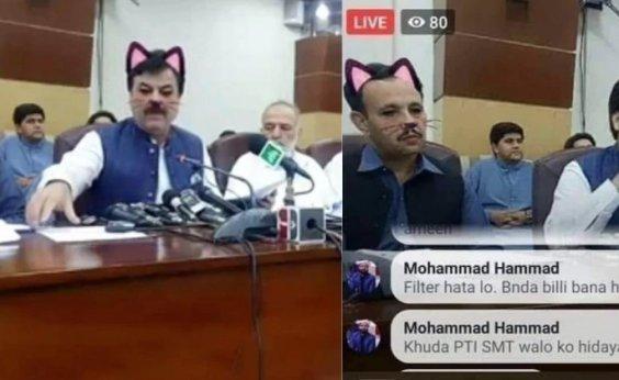 [Governo do Paquistão transmite audiência com filtro de gatinho ativado]