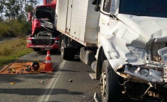 [Motorista morre após engavetamento entre três carretas e um carro na BR-116]
