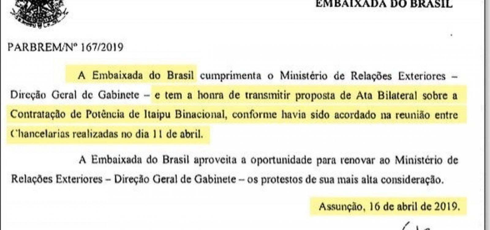 [Novos documentos mostram que acordo secreto de Itaipu começou por iniciativa do governo Bolsonaro]