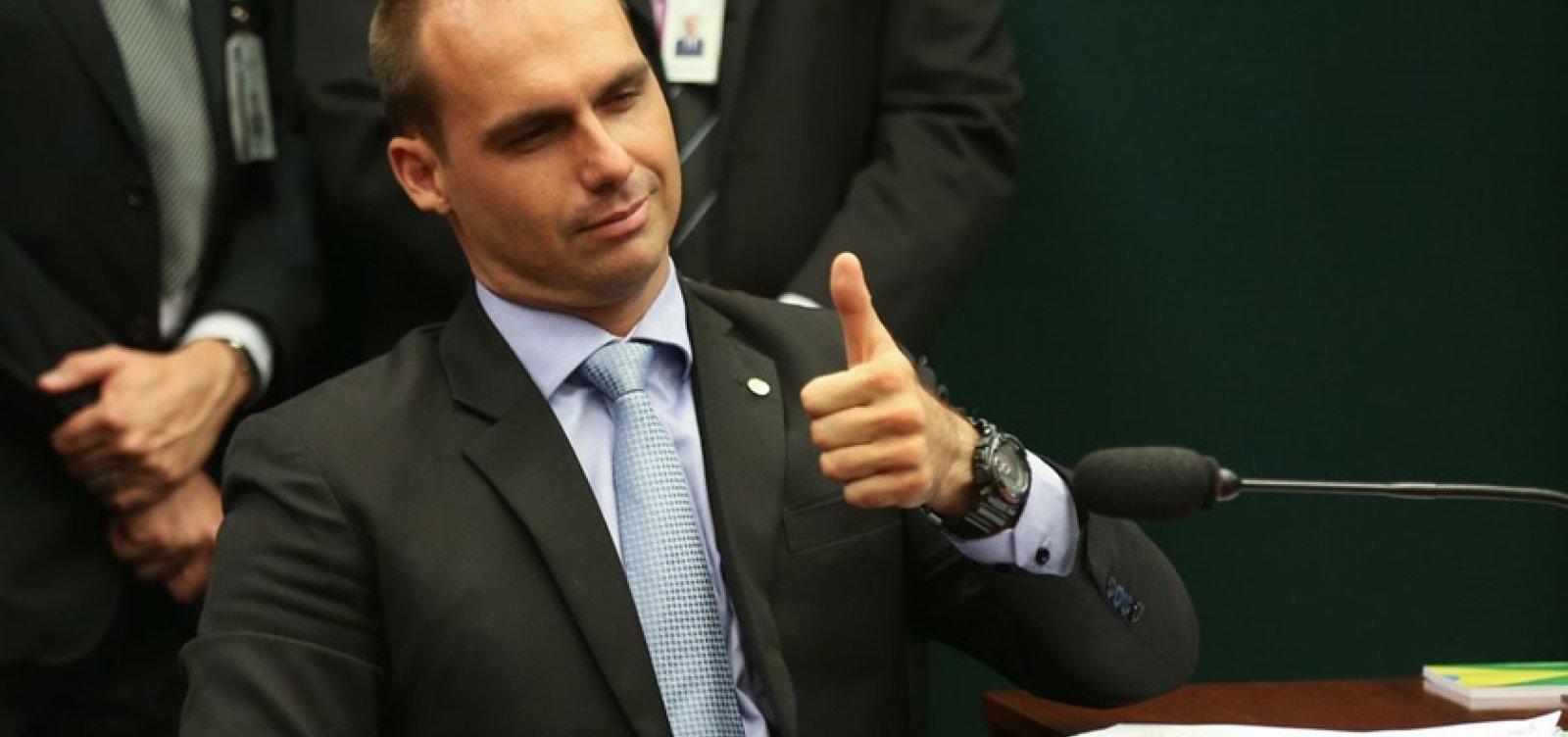 [ Eduardo Bolsonaro defende abertura econômica do Brasil]