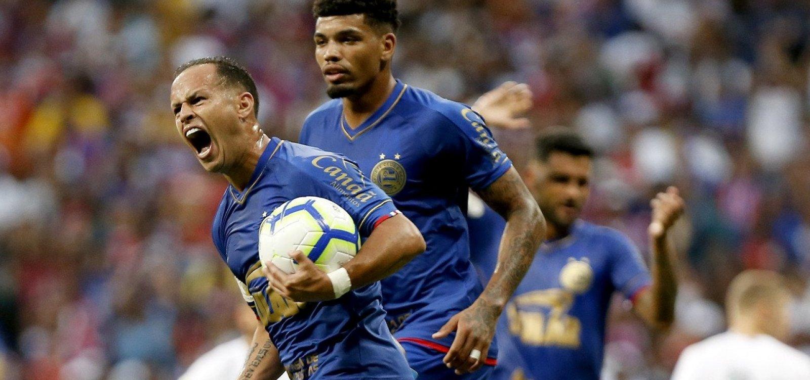 [Guerra comemora primeiro gol marcado com a camisa do Bahia]
