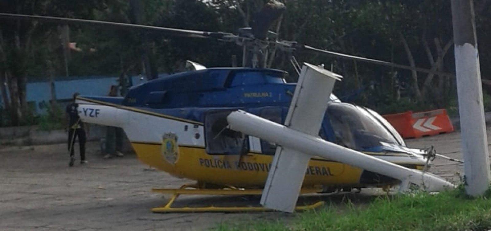 [Helicóptero da PRF colide com placa ao tentar pousar em Eunápolis]