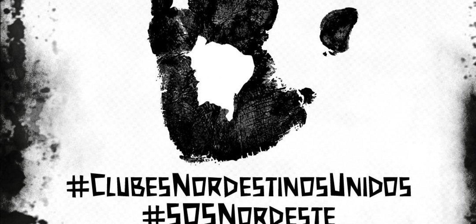 [ Vitória e times do Nordeste lançam mensagem contra vazamento de óleo; Bahia fica fora]