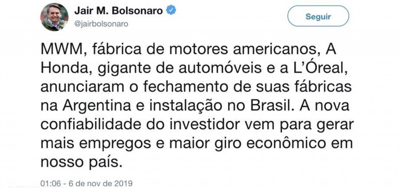 [ Bolsonaro diz que empresas deixarão Argentina e apaga publicação depois]