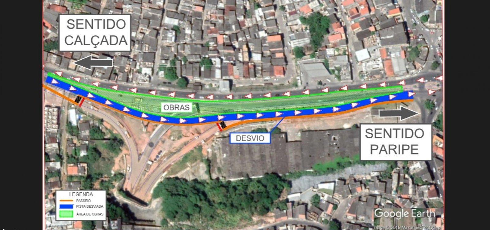 [Obras da Ligação Lobato-Pirajá desviam tráfego na AvenidaSuburbana a partir de amanhã]