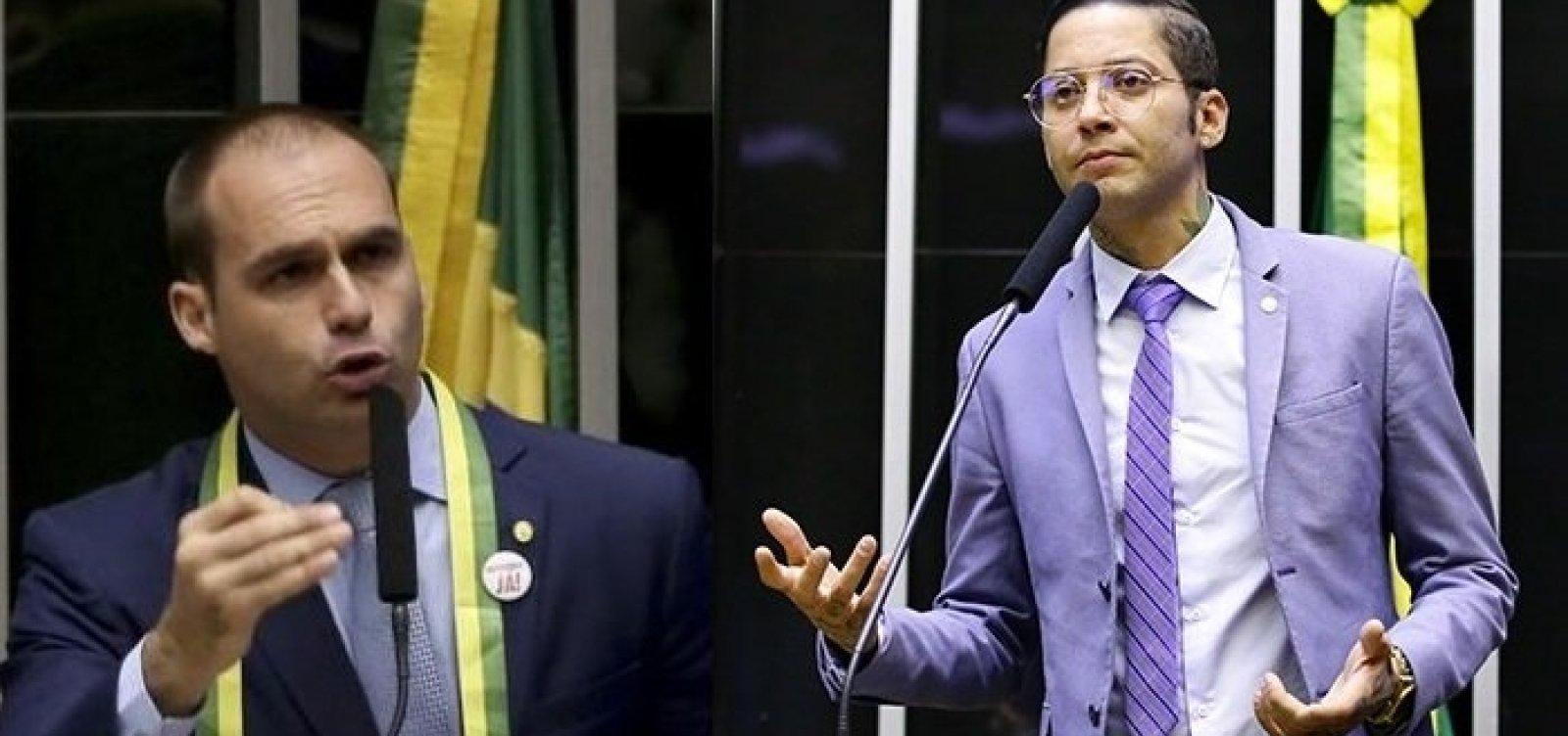 [Eduardo Bolsonaro chama Kannário de 'vagabundo' após cantor enfrentar PMs na Liberdade]