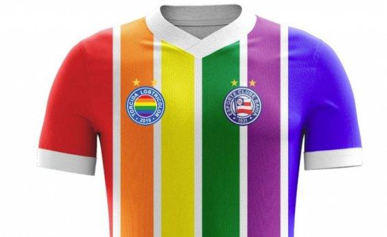 [Com apoio do clube, torcida faz camisa LGBT para o Bahia]