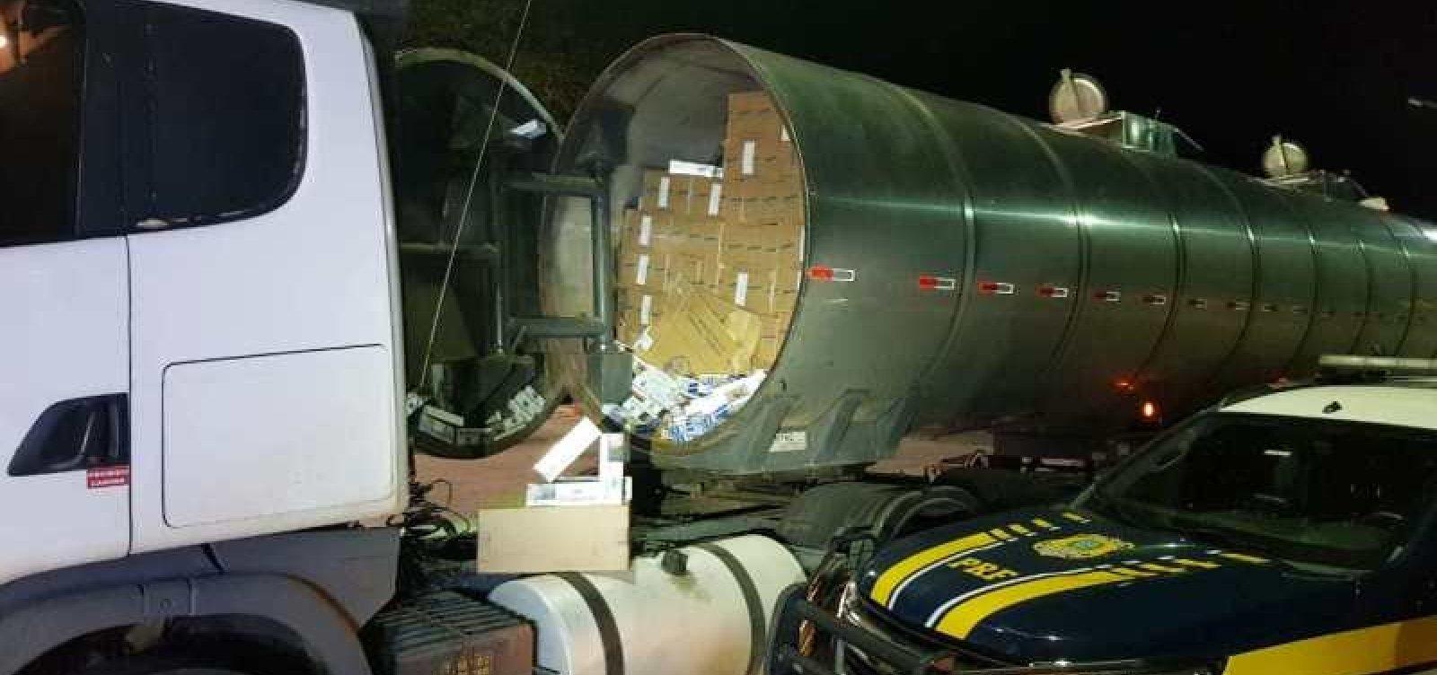 [Homem é preso e carga de 250 mil maços de cigarro é apreendida em caminhão-tanque na BR-116]