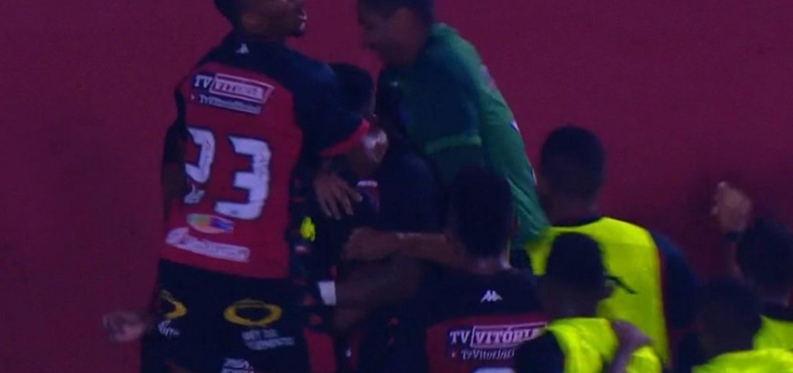 [Com gol de Nickson, Vitória estreia no Baianão derrotando o Jacobina ]