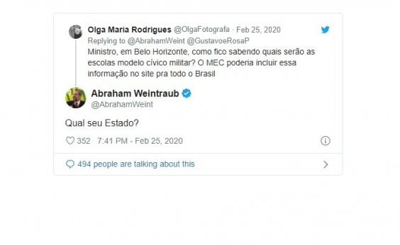 [Weintraub questiona em que estado fica Belo Horizonte ]