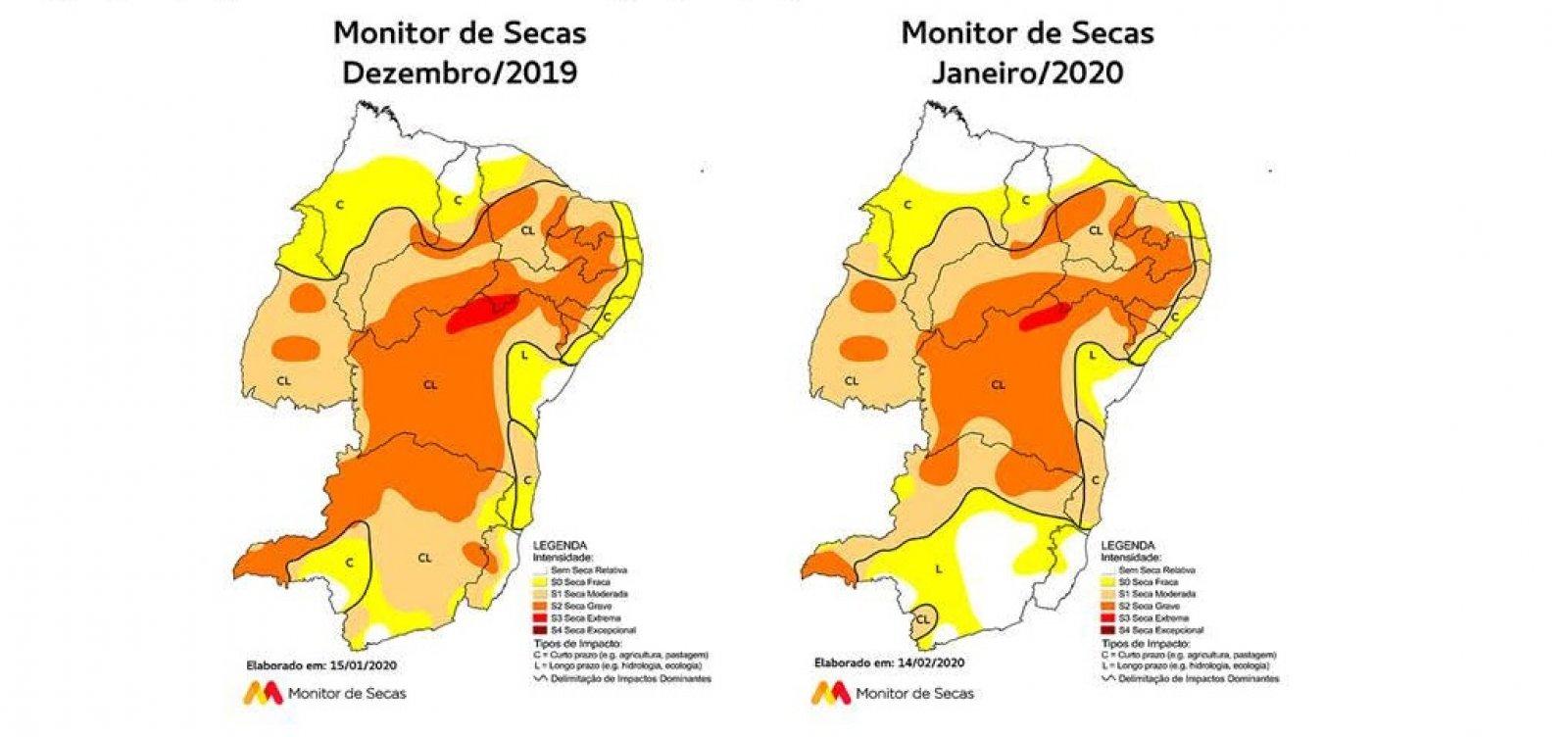 [Monitor aponta redução da área com seca na Bahia, com exceção do extremo sul]