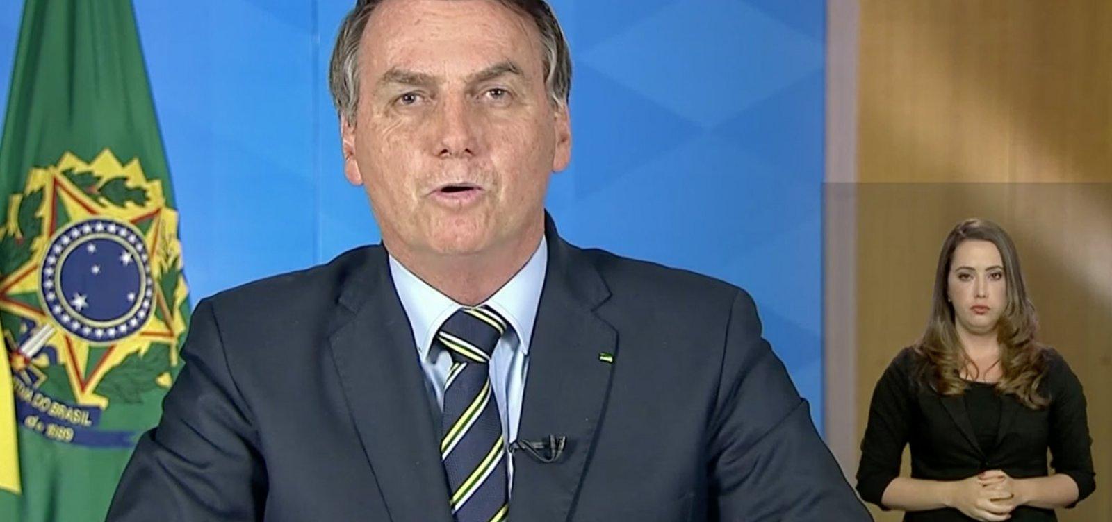 [Em pronunciamento, Bolsonaro pede fim do 'confinamento' e reabertura de comércio e escolas ]