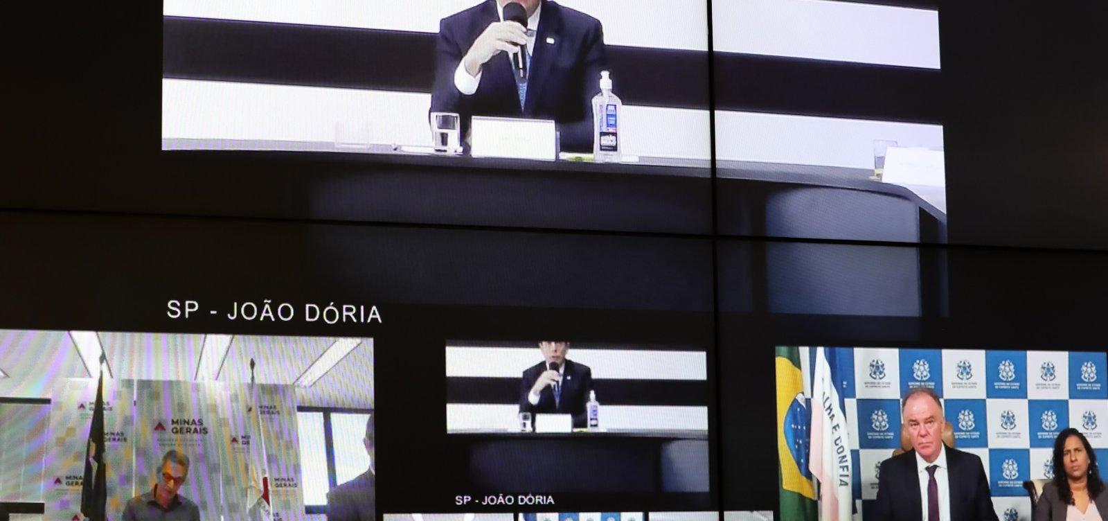 [Bolsonaro discute com governadores, e Doria ameaça ir à Justiça]