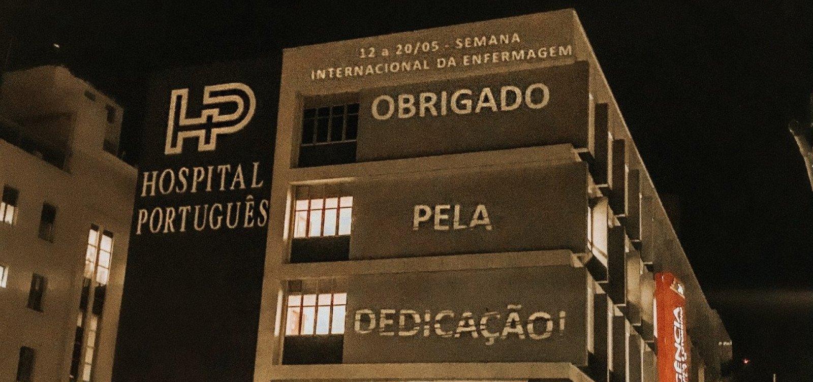 [Projeção em fachada do Hospital Português presta homenagem a profissionais de enfermagem]