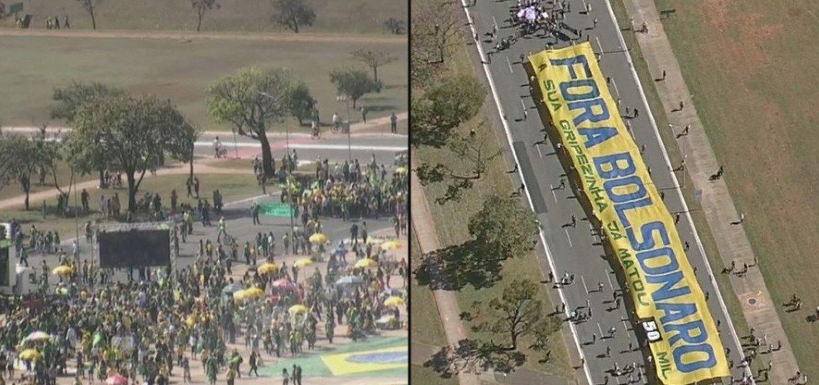 [Manifestantes realizam atos contra e a favor do governo na Esplanada dos Ministérios]