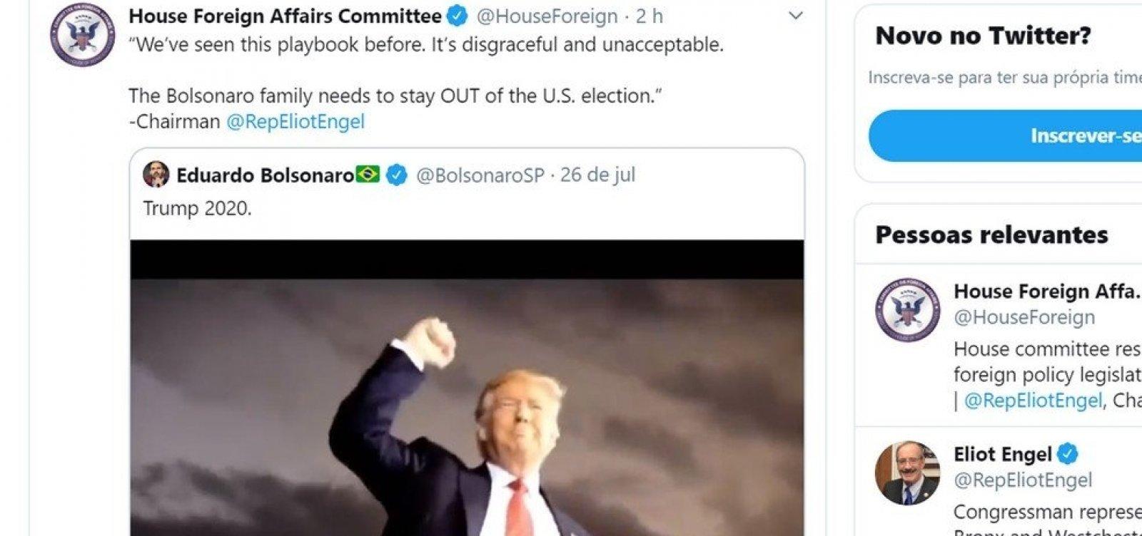 [Comitê da Câmara americana pede que família Bolsonaro 'fique de fora das eleições nos EUA']