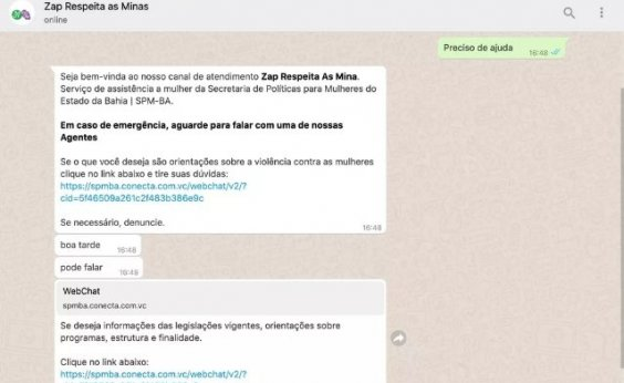 ['Zap Respeita as Mina': inteligência artificial recebe denúncias de mulheres vítimas de violência na Bahia]