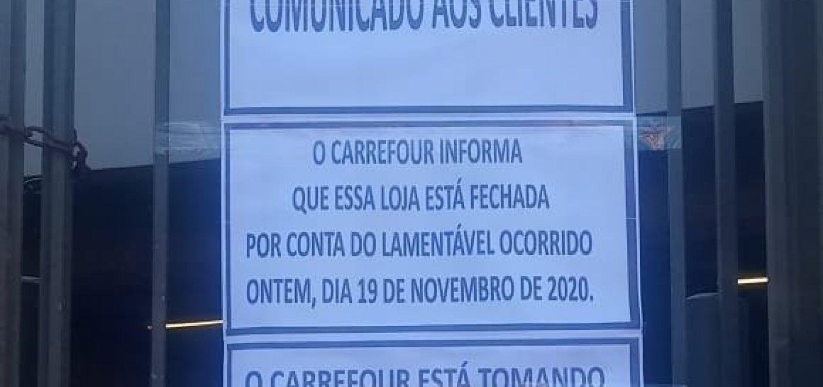 [Loja do Carrefour amanhece fechada após homem negro ser espancado até a morte no estabelecimento]